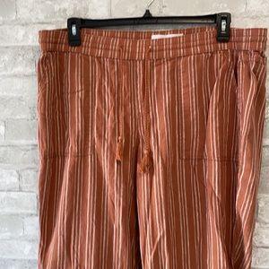 Linen cotton striped drawstring pants